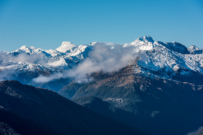 Mount Strachan, Mount Dechen and Mount Hooker from Pt 1319m, Mataketake Range.