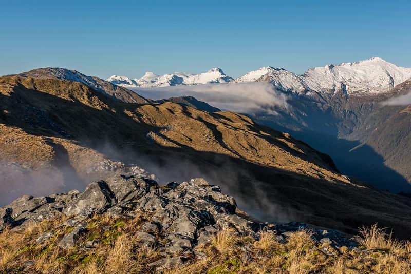 Mount Dechen, Mount Hooker, Eureka and Monro Peak from Pt 1292m, Mataketake Range.