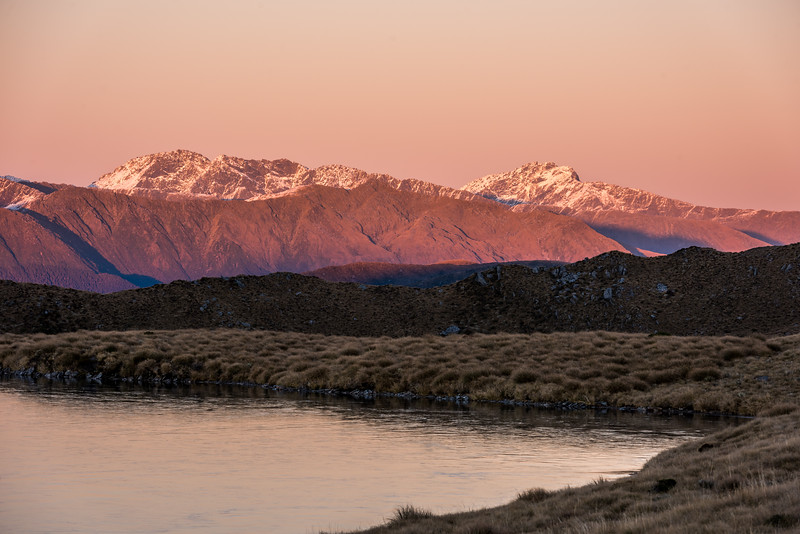 View of Rough Ridge, Marks Range, in the first light of the day.