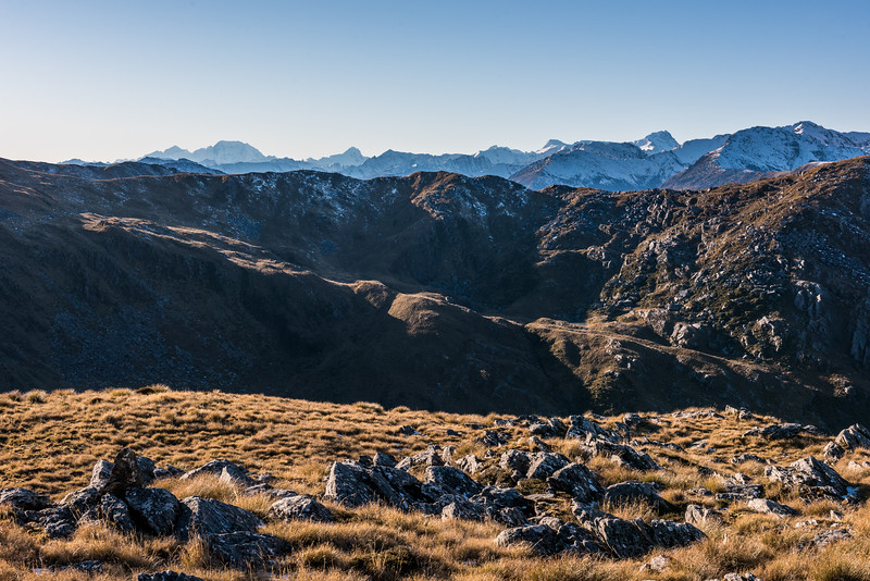 View of the Southern Alps from Mount Smith, extending from Mount Tasman (left) to Mount Hooker (right).