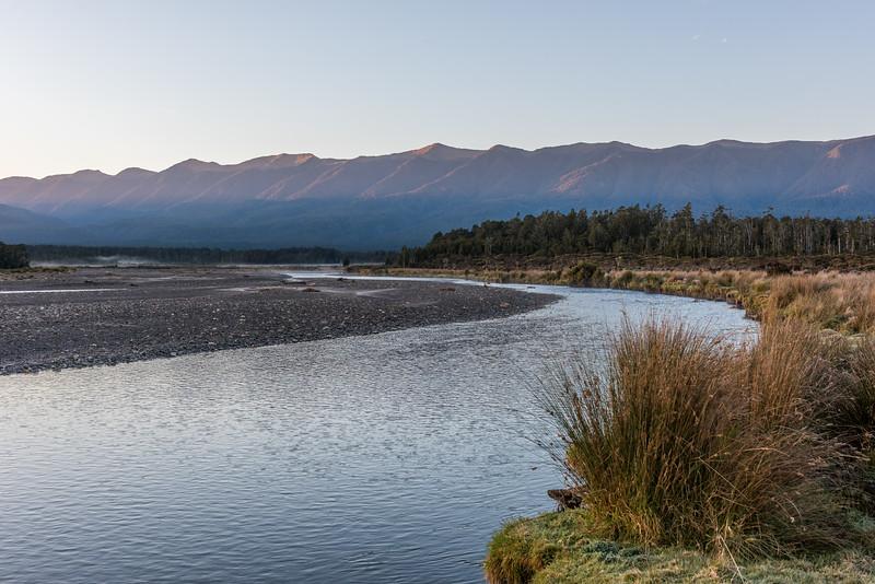 The Mataketake Range tops rise above the Waita River