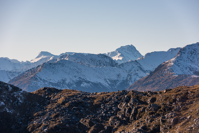 Mount Dechen and Mount Hooker from Mount Smith, Mataketake Range.