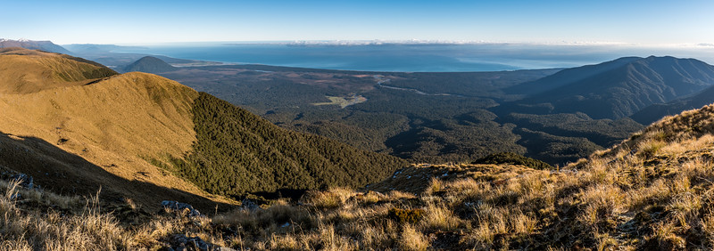 View from Mount Smith: The West Coast from the Bald Hill (right) to Jackson Bay (far left). The Waita River flows into the sea at centre image.