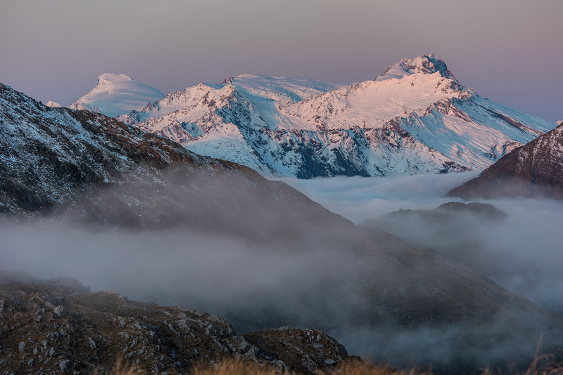 View of Mount Dechen and Mount Hooker at dusk from Pt 1258m, Mataketake Range.