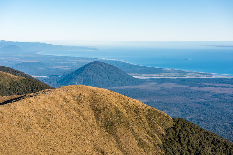 View of Mosquito Hill, the Haast River mouth and Jackson Bay from Mount Smith, Mataketake Range.