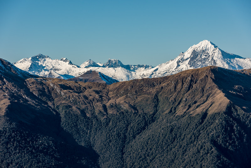 Mount Tole, Mount Barth and Mount Brewster from Mount Smith, Mataketake Range.