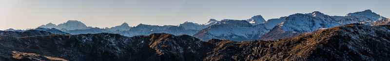 Southern Alps panorama from Mount Smith, Mataketake Range.