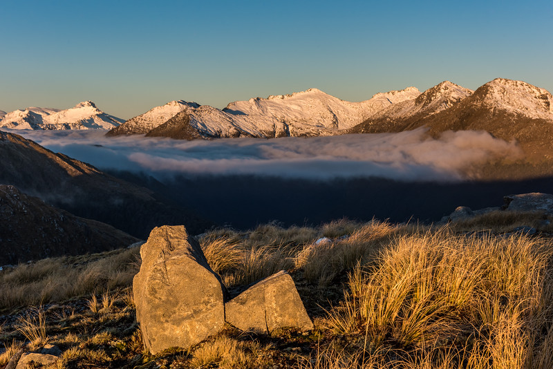 Sunset view from Pt 1258m, Mataketake Range. From left to right are Mount Hooker, Eureka, Monro Peak (centre), Weary Summit and Mount Stephenson.