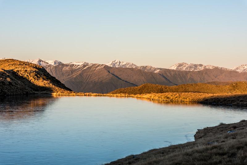 View of Rough Ridge, Marks Range, at sunrise.