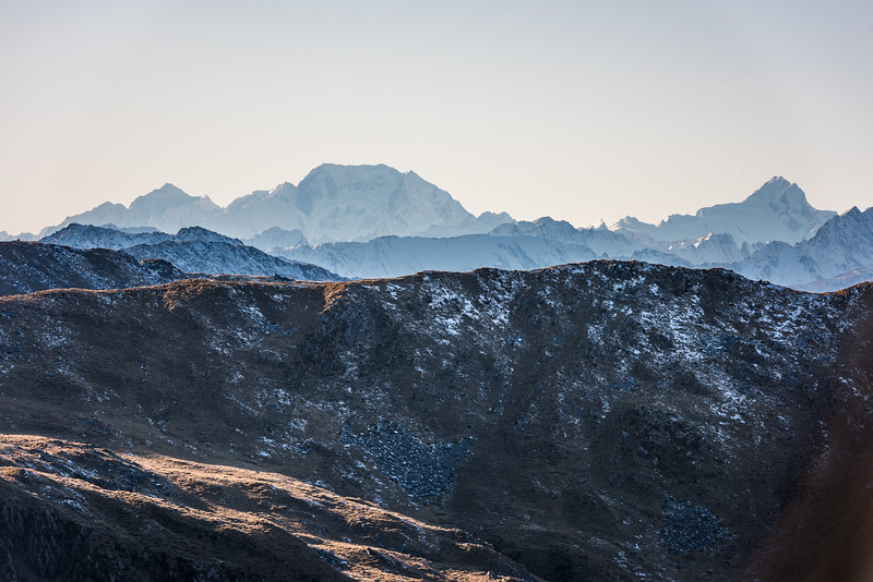 Mount Tasman, Aoraki / Mount Cook and Mount Sefton from Mount Smith, Mataketake Range.
