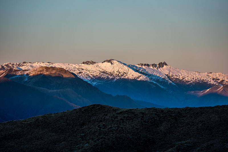 Mount Nerger, Marks Range, at sunrise. Dizzy Pinnacle is on the far left.