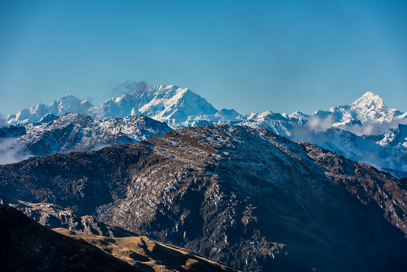 View of Mount Tasman, Aoraki / Mount Cook and Mount Sefton from Pt 1319m, Mataketake Range. Mount Clarke is in the foreground at centre image.