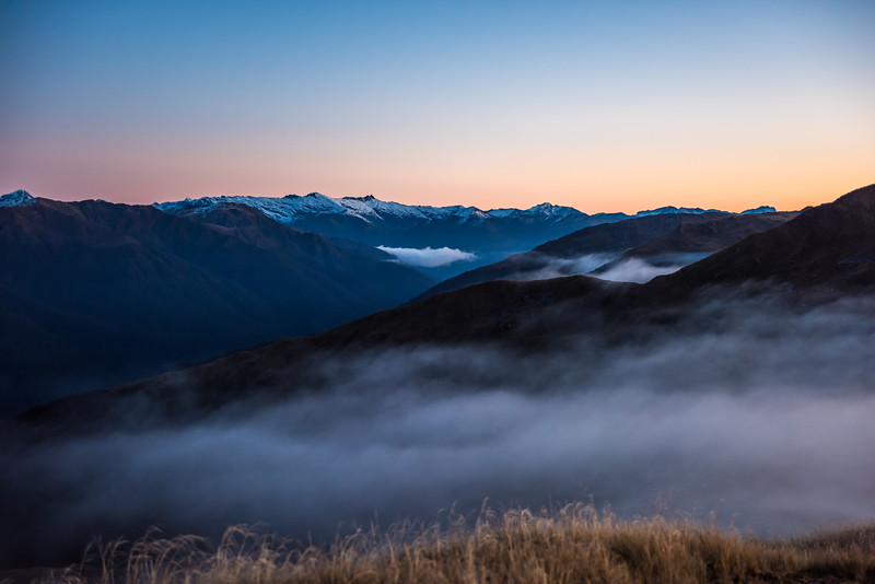 View of the Marks Range at dusk from Pt 1258m, Mataketake Range.