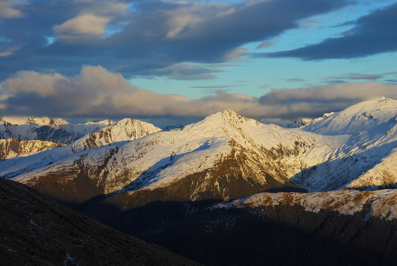 Castle Hill, Powder Flask Peak and Mount Stuart from Brewster Hut