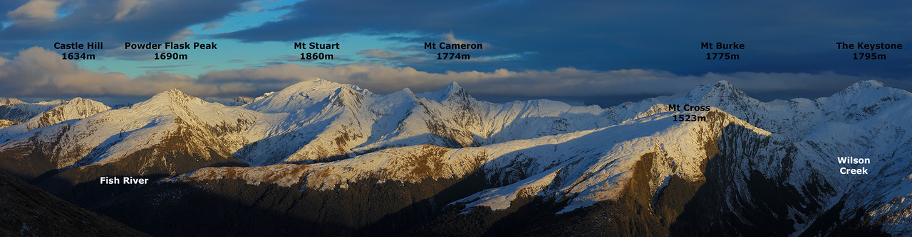 Panorama from Brewster Hut, ranging from Castle Hill (far left) to The Keystone (far right)