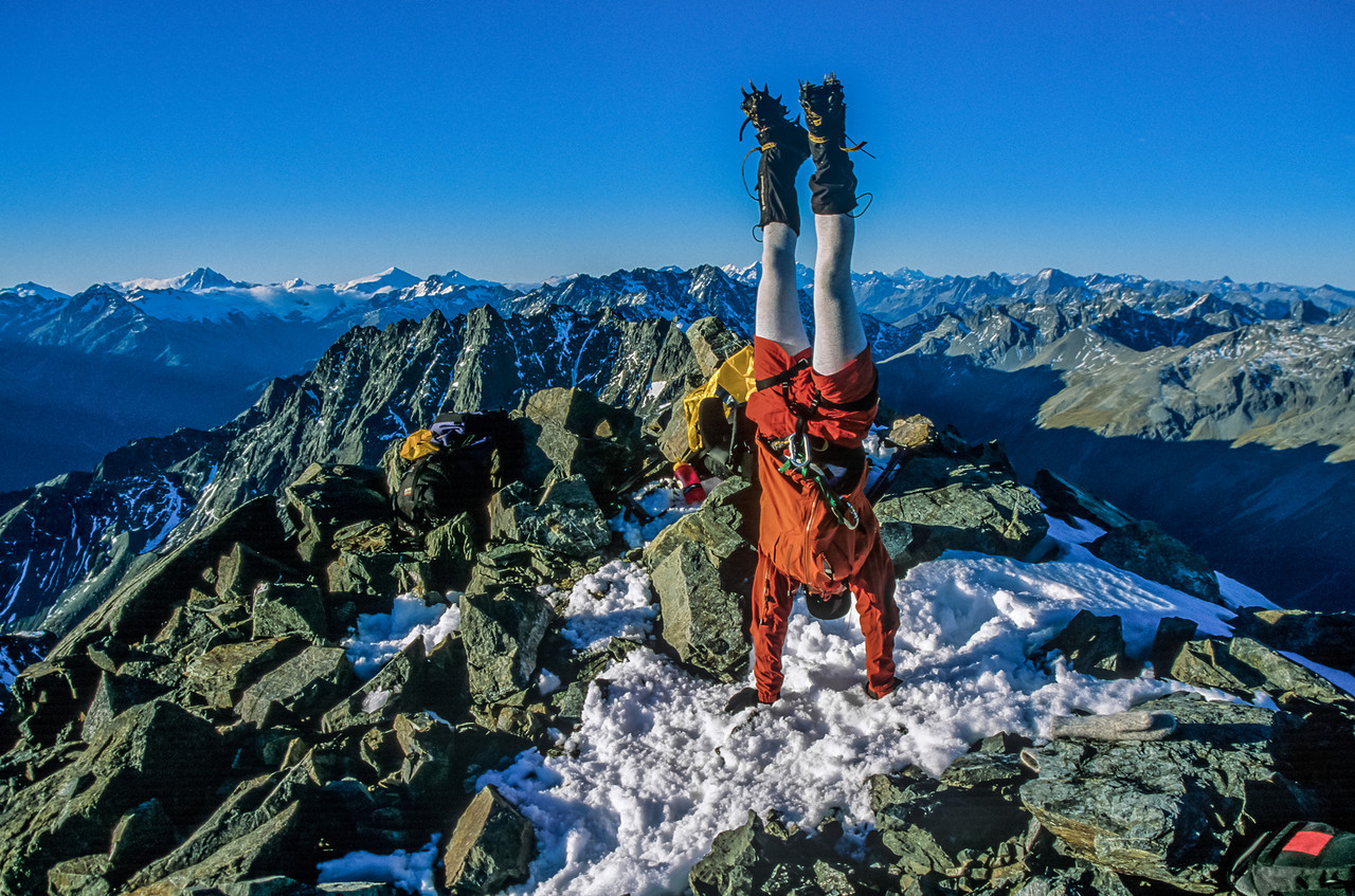 Emily's handstand while wearing crampons, Mount Barth summit