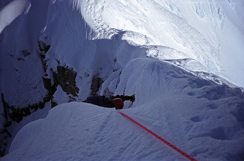 Shelley exiting the south face