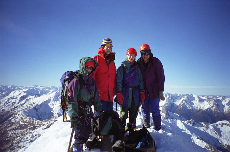 On the summit of Mt Brewster: left to right, Shelley Graham, Heather Rhodes, Susan MacLeod, Andy Wells