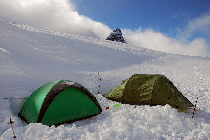 Campsite at 2230m on the Main Divide just south of Mount Brewster