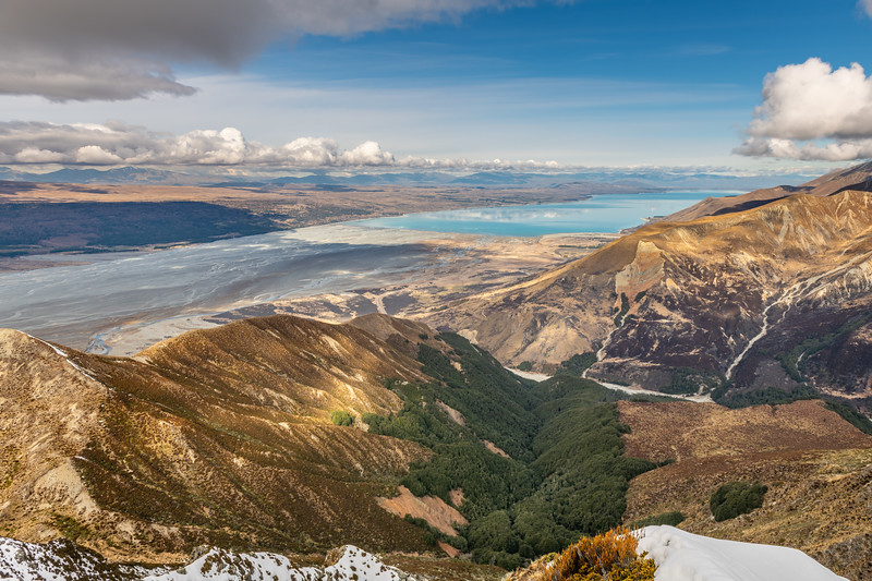 View of Lake Pukaki and the Tasman River from the ridge north of Lagoon Basin.