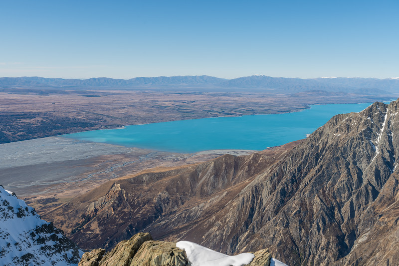 Tasman River and Lake Pukaki from the summit of Mount Brown