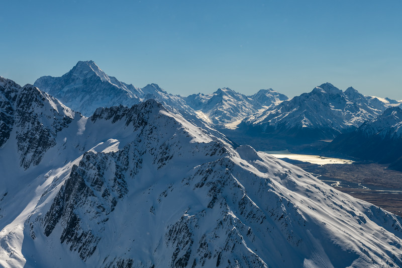 Aoraki / Mount Cook and the upper Tasman from the summit of Mount Brown. Mount Lloyd is in the foreground.