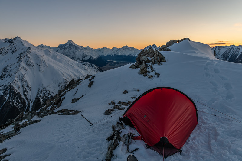 Campsite on the east ridge of Mount Brown. Aoraki / Mount Cook back left