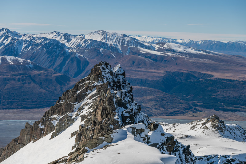 Looking down the east ridge of Mount Brown. The Gamack Range is across the Tasman River in the background.