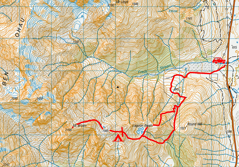 Mount Brown trip map. 1 grid square = 1km. Left click on map then click again to view full size.