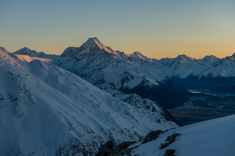 Aoraki / Mount Cook and the upper Tasman from the east ridge of Mount Brown.
