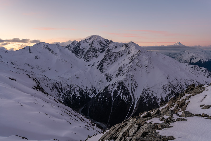 Mount Cran, Mt Lloyd and Aoraki / Mt Cook from the east ridge of Mount Brown