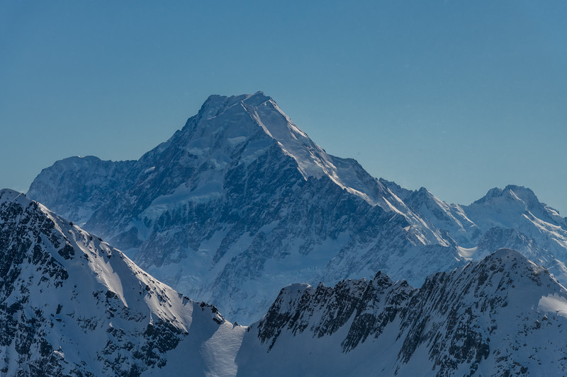 Aoraki / Mount Cook and Mount Haidinger from the summit of Mout Brown. Mount Lloyd is in the foreground.
