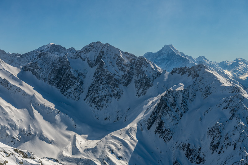 Mount Cran, Mt Lloyd and Aoraki / Mt Cook from the summit of Mount Brown