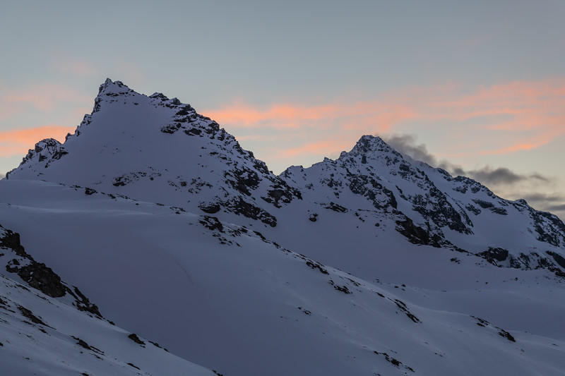 The east summit of Mount Brown (left) and Pt 2428m (right).