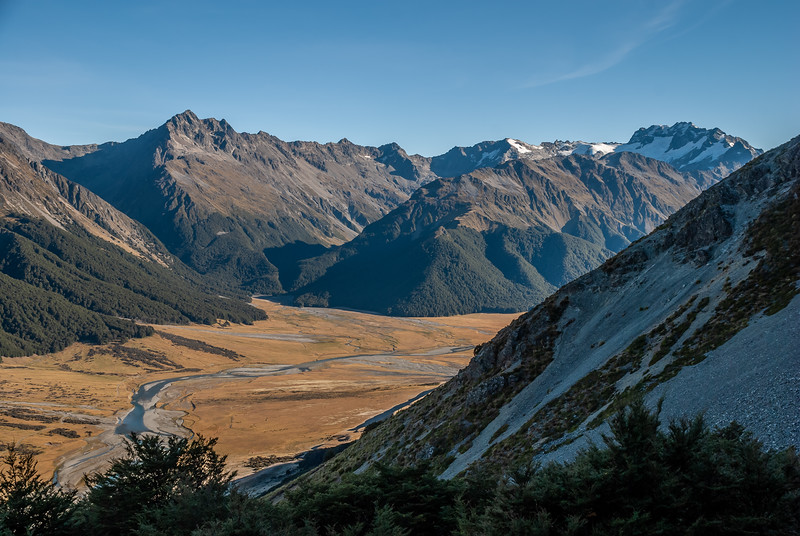 Looking across the Ahuriri into Little Canyon Creek and Canyon Creek. From left to right on the skyline are unnamed peak 2167m, Mt Rigel, Mt Heim and Mt Barth.