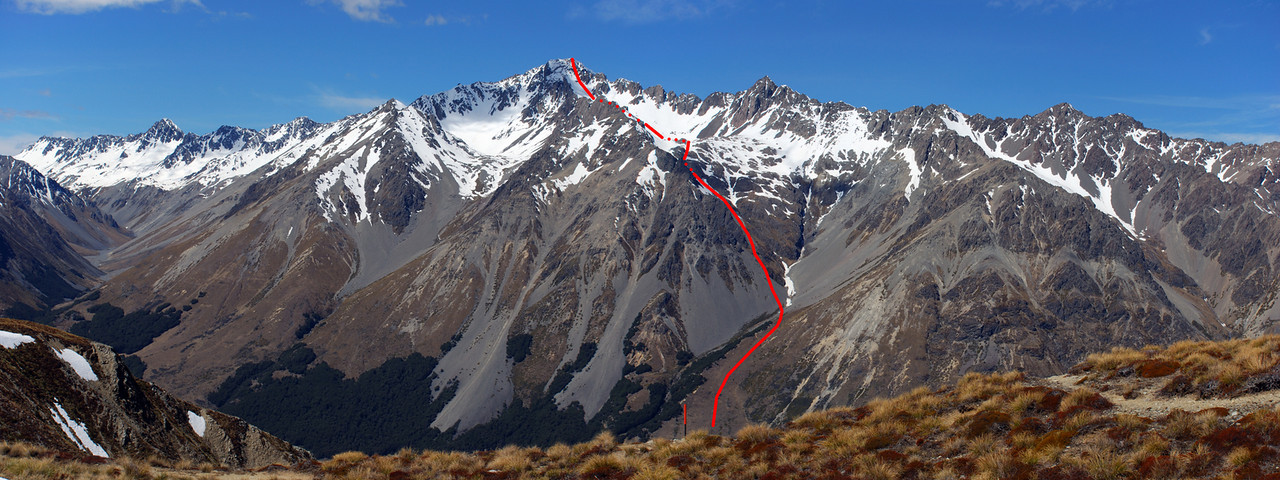 Mt St Mary route topo. The picture was taken from the Ahuriri / Dingle Burn Saddle in October 2009. Hodgkinson Creek to the left, with Mt Peterson and Mt Stafford at the head of the valley