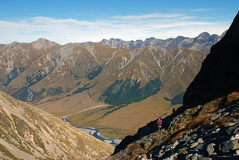 Climbing above the Ahuriri River, on the way to the lake below Mt Saint Mary. Mt Gladwish (front left) and the range west of the Dingle Burn (rear) in the backdrop