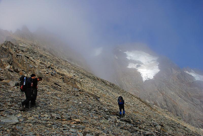 Approaching Mt Strauchon in mist