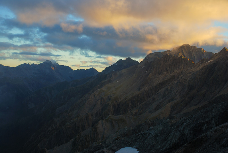 Sunset on the north-east ridge of Mount Strauchon. From left to right are Temple Peak, unnamed peak 2265m and Anita Peak.