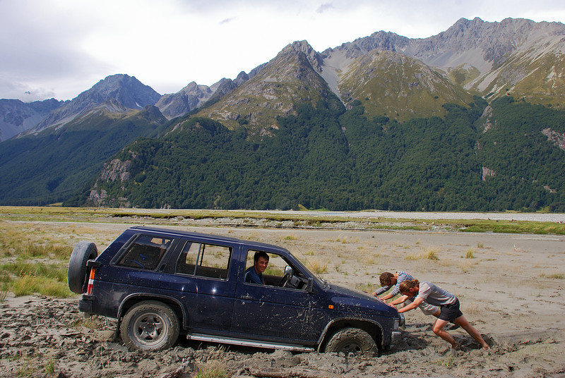 Nissan Terrano bogged in the Hopkins River