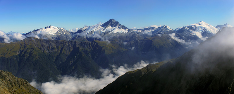 Panorama from the north-east ridge of Mount Strauchon. From left to right are Mt McCullaugh, Mt Hooker, Mathers Peak, Mount Dechen, Mount Srachan