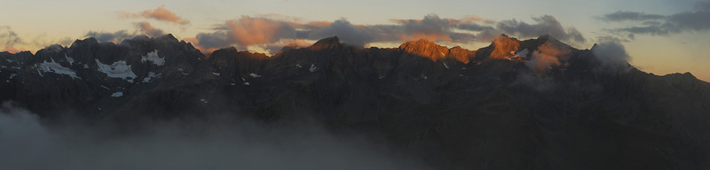 North Huxley peaks at sunset. McNulty Peak, Taiaha Peak and Boanerges