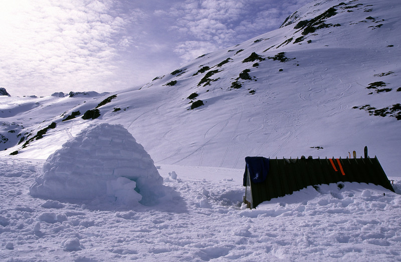 The igloo towering above Brewster Hut