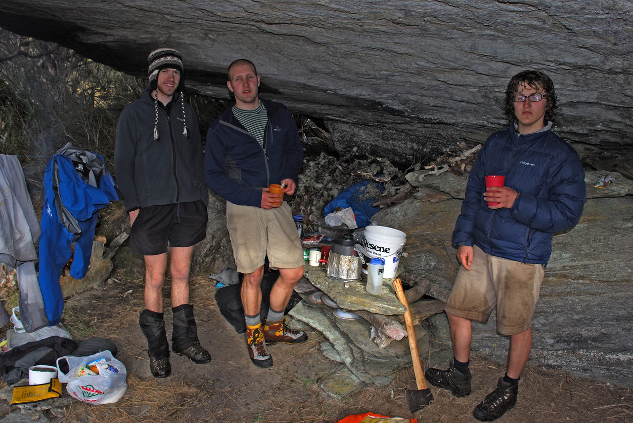 Mark, Ben, Alexis. Tunnel Creek rock bivvy.