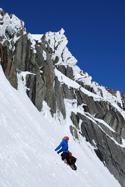 Mark below the notch on the west ridge of Mt McCullaugh