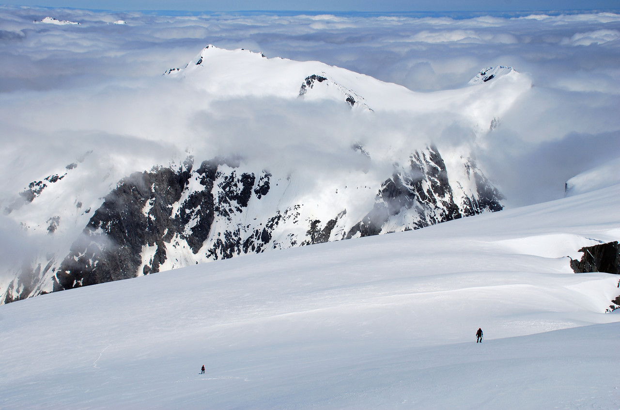 At the top of the Hooker Glacier, looking at Mt McCullaugh and Lantern Peak