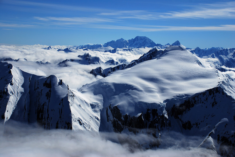Mt Dechen (front), Mt Tasman, Mt Cook and Mt Sefton (back) from the summit of Mt Hooker