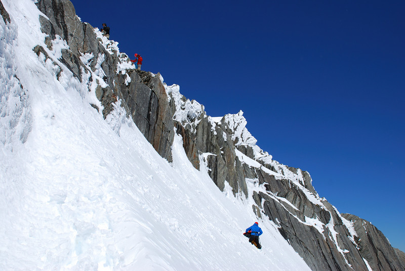 Negotiating the notch on the west ridge of Mt McCullaugh