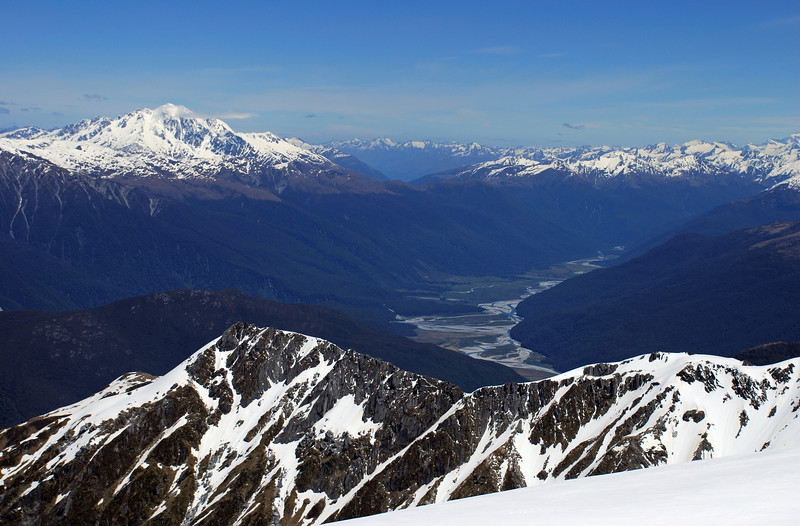 Mt Brewster and Landsborough River from the slopes of McCullaugh. The Outpost in the foreground