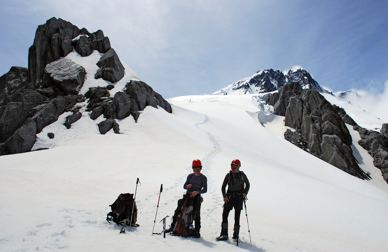 Alexis and Mark at the toe of the Hooker Glacier